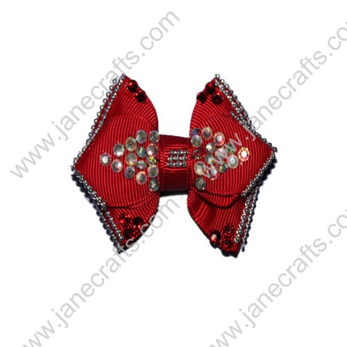"2.5"" Red Boutique Hair Bows with Rhinestone"