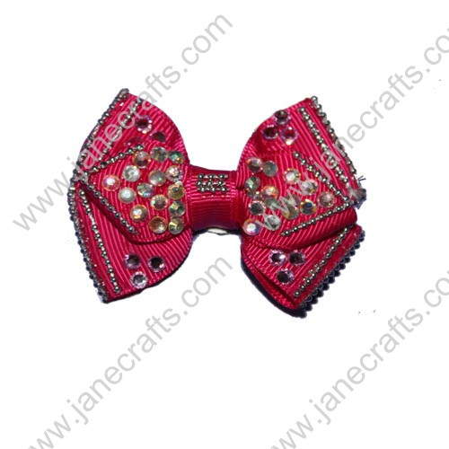 "2.5"" Hot Pink Boutique Hair Bows with Rhinestone"