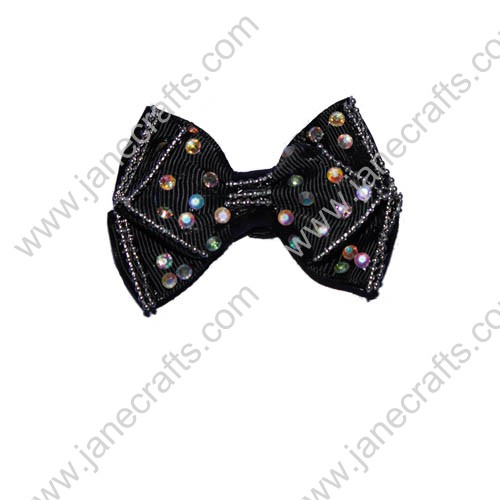 "2.5"" Black Boutique Hair Bows with Rhinestone"