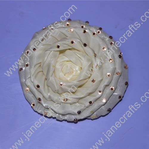 "4"" Luxury Organza Rose Flowers with Rhinestone"
