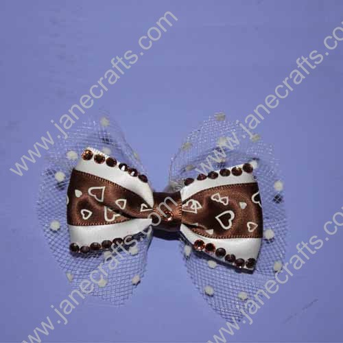 "3.5"" Layered Satin Bowtie Bows with Brown Rhinestone"