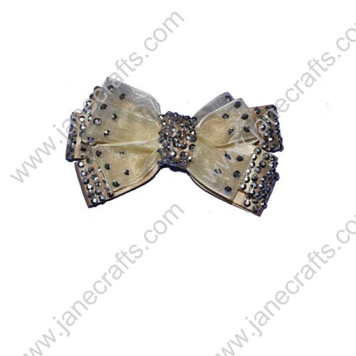 "3"" Champagne Double Layered Organza and Satin Hair Bows with Rhinestone"