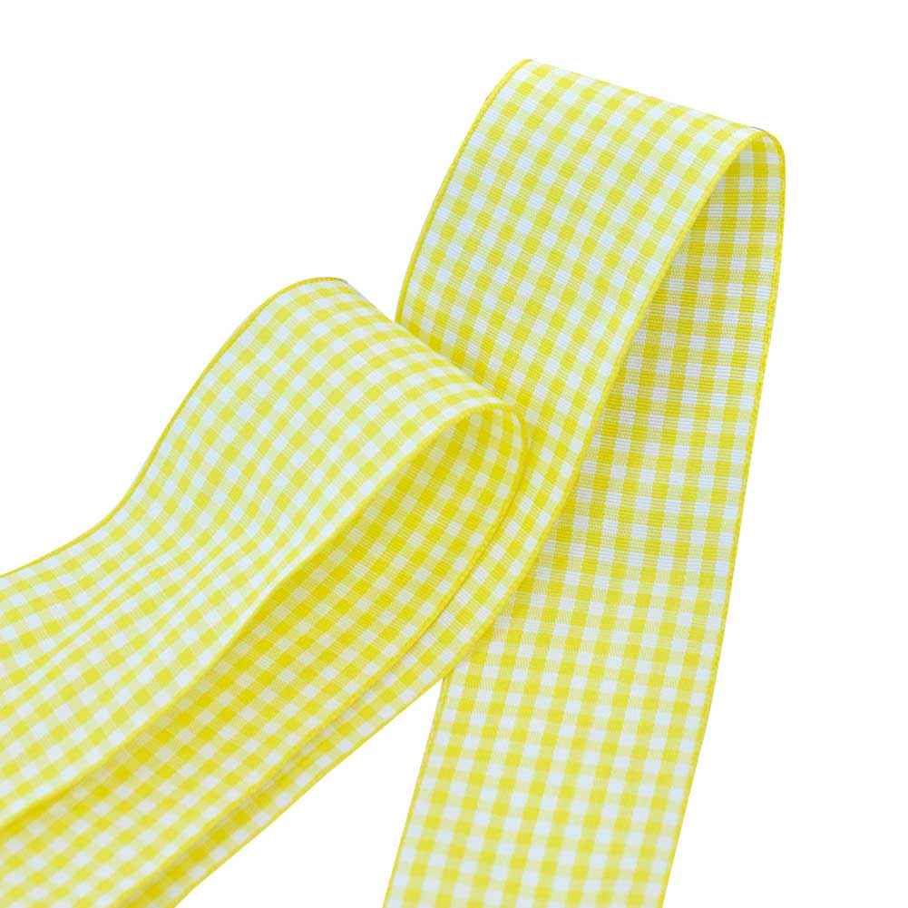 "7/8"" Gingham Ribbon, Baby Maize Color,5 yard"