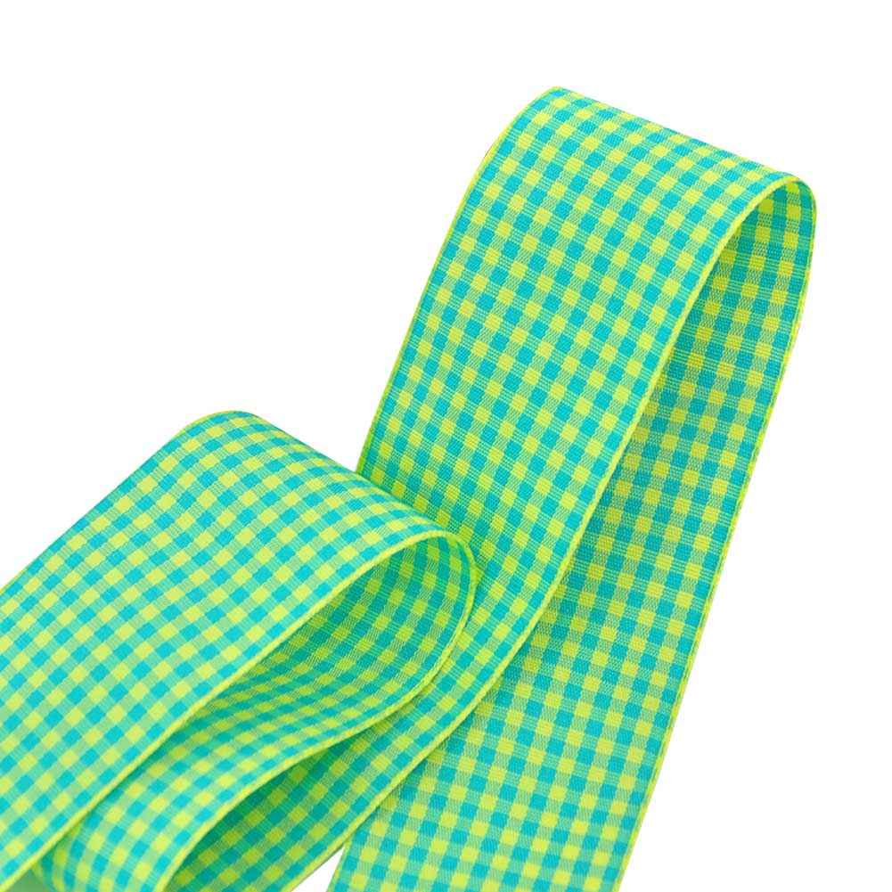 "1.5"" Gingham Ribbon, Yellow Green Color,5 yard"