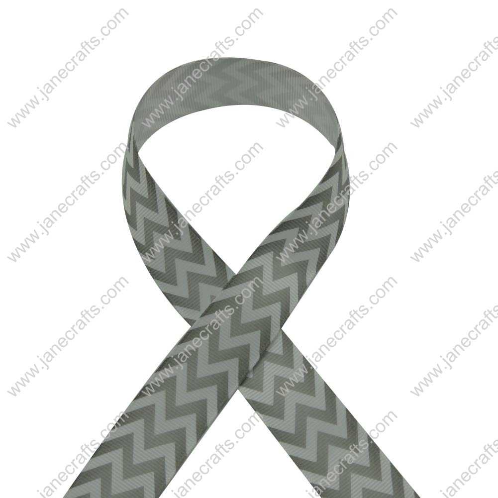 100 Yard 25mm(1 inch) Wide Chevron Printed Grosgrain Ribbon-Lt Silver