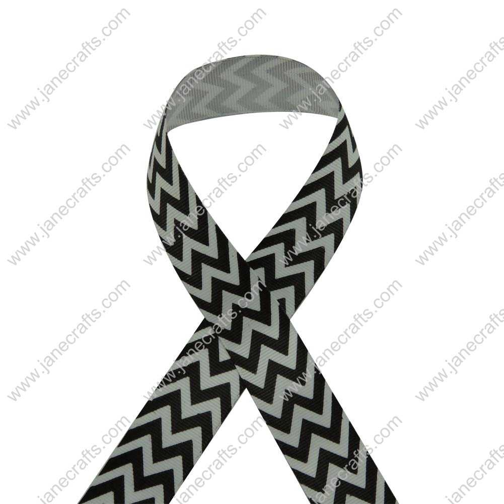 100 Yard 25mm(1 inch) Wide Chevron Printed Grosgrain Ribbon-Black