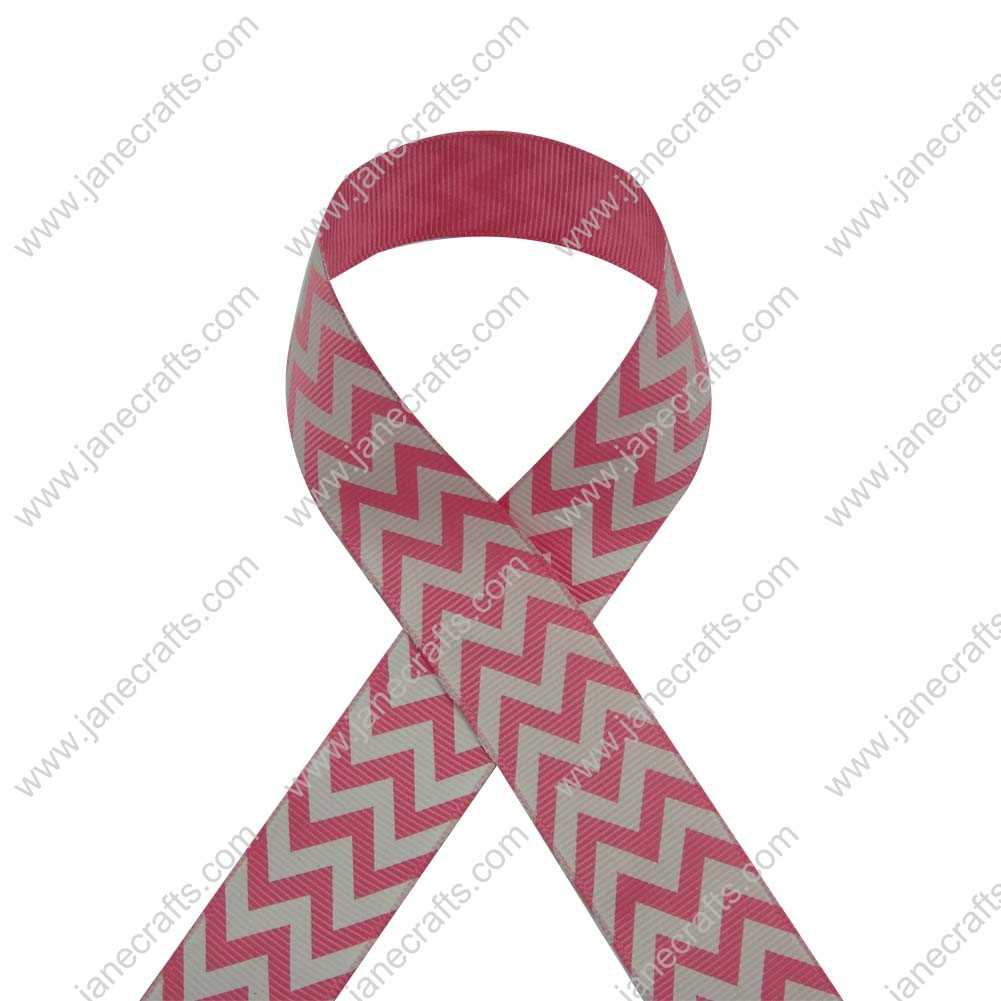 100 Yard 25mm(1 inch) Wide Chevron Printed Grosgrain Ribbon-Hot Pink