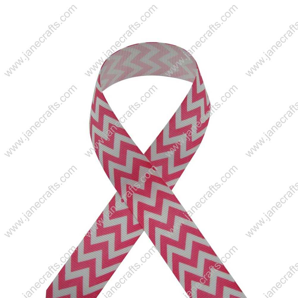 100 Yard 25mm(1 inch) Wide Chevron Printed Grosgrain Ribbon-Shocking Pink