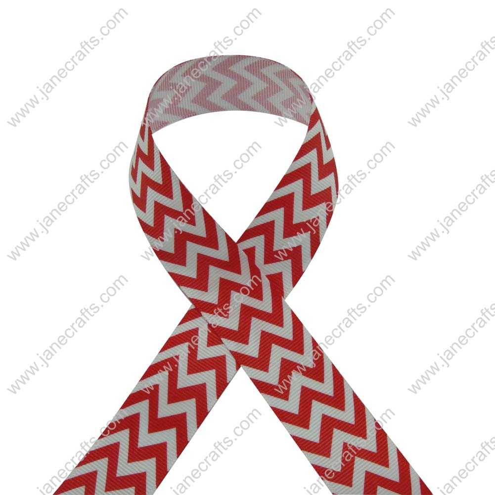 100 Yard 25mm(1 inch) Wide Chevron Printed Grosgrain Ribbon-Red