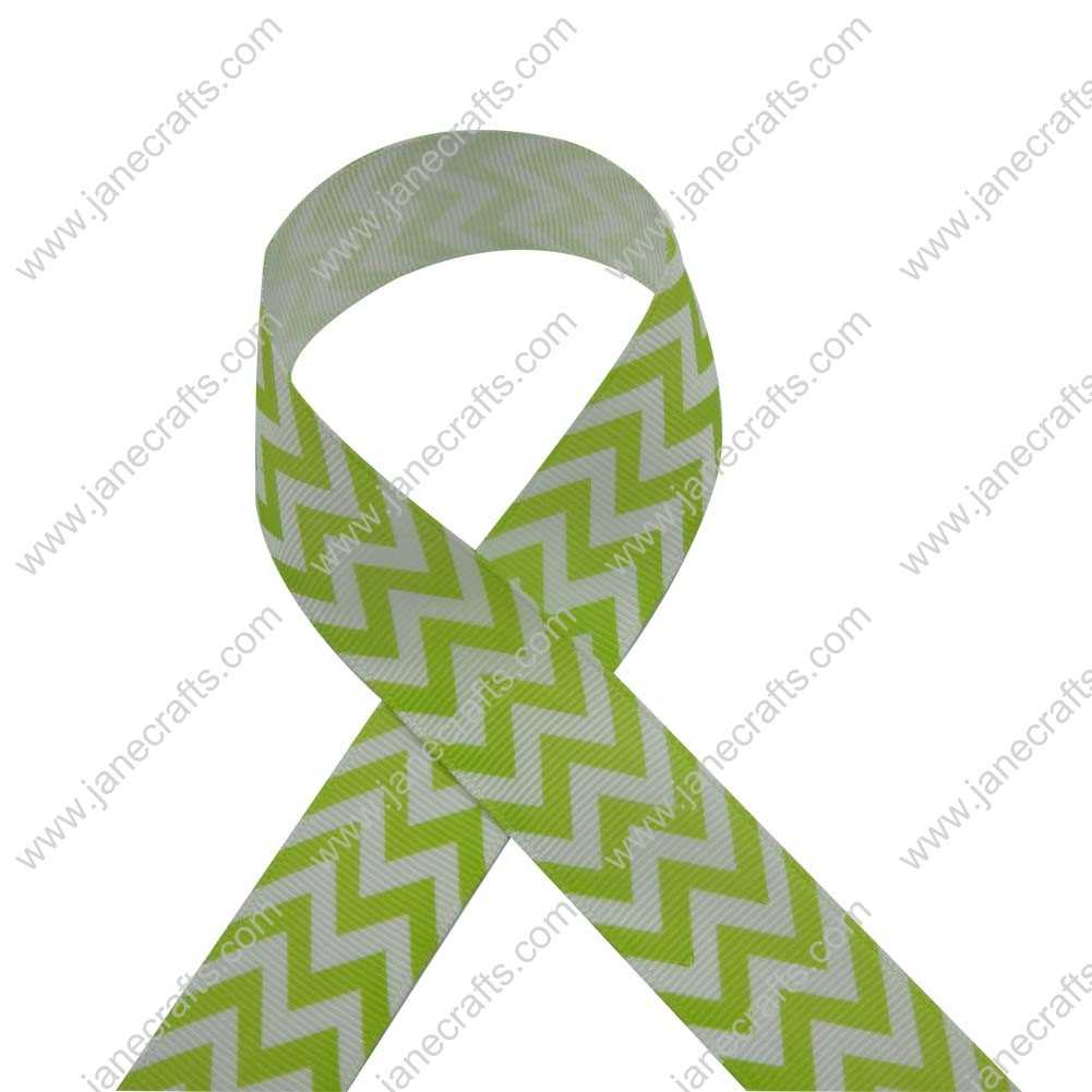 100 Yard 25mm(1 inch) Wide Chevron Printed Grosgrain Ribbon-Apple Green