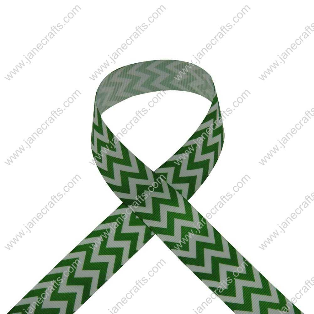 100 Yard 25mm(1 inch) Wide Chevron Printed Grosgrain Ribbon-Emerald