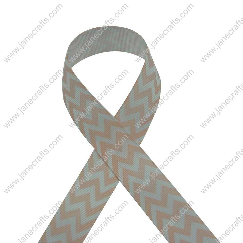 100 Yard 25mm(1 inch) Wide Chevron Printed Grosgrain Ribbon-Peach