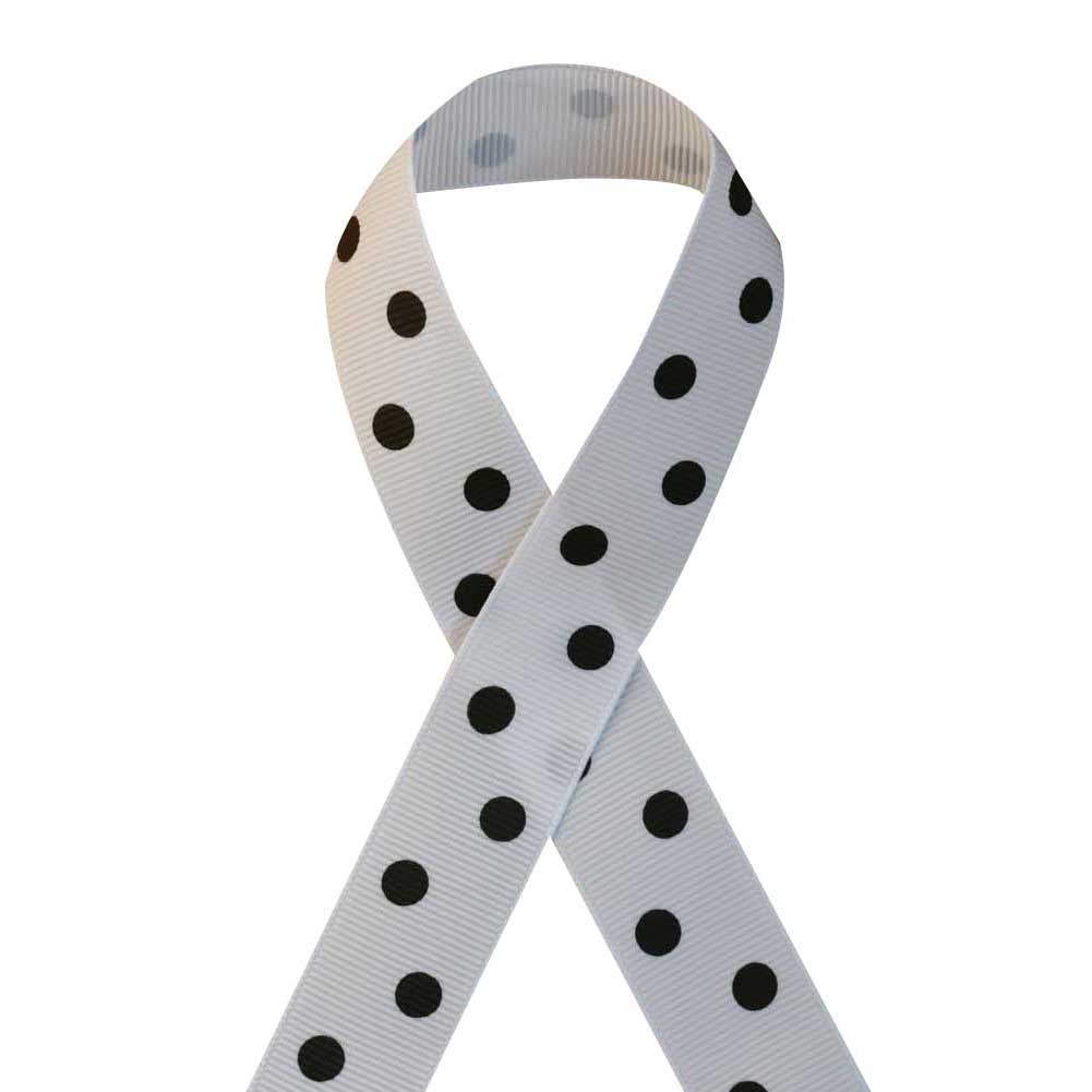"7/8"" Printed Grosgrain Ribbon, Black Polka Dot on White,100 yard"