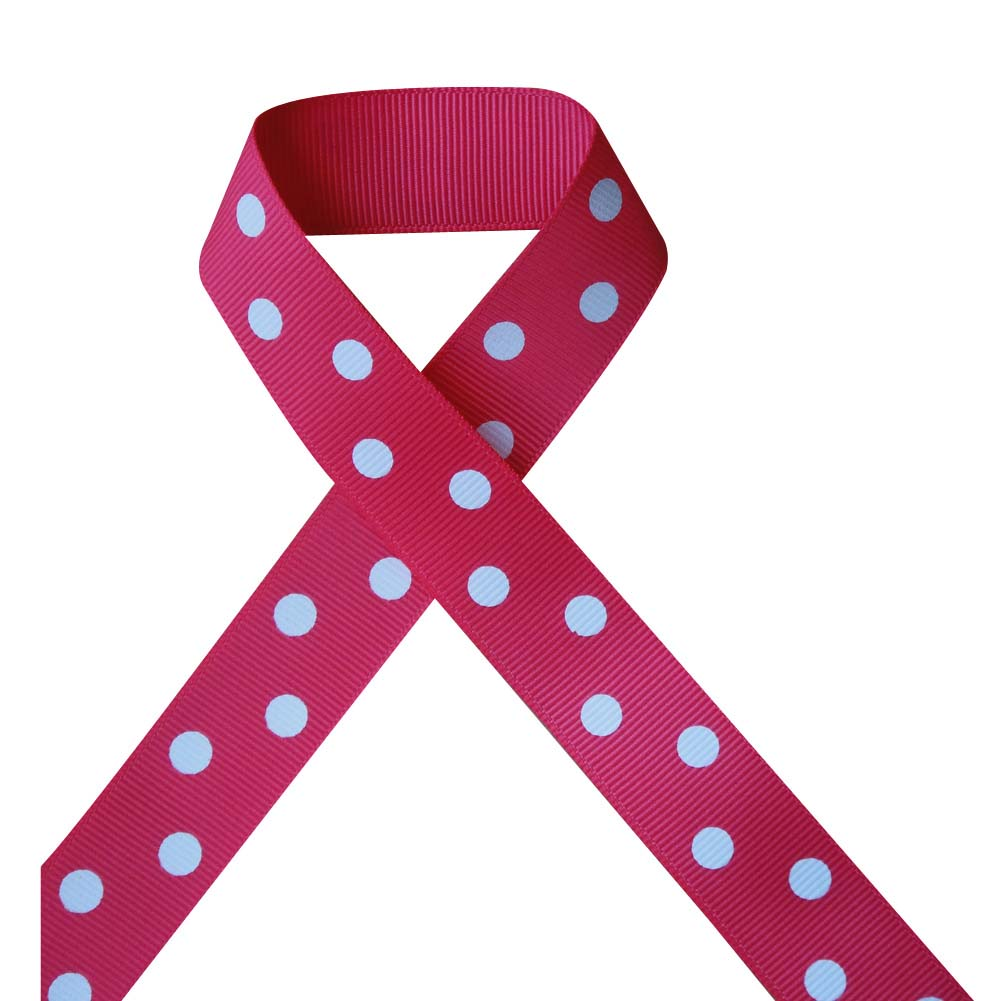 "7/8"" Printed Grosgrain Ribbon, White Polka Dot on Shocking Pink,100 yard"