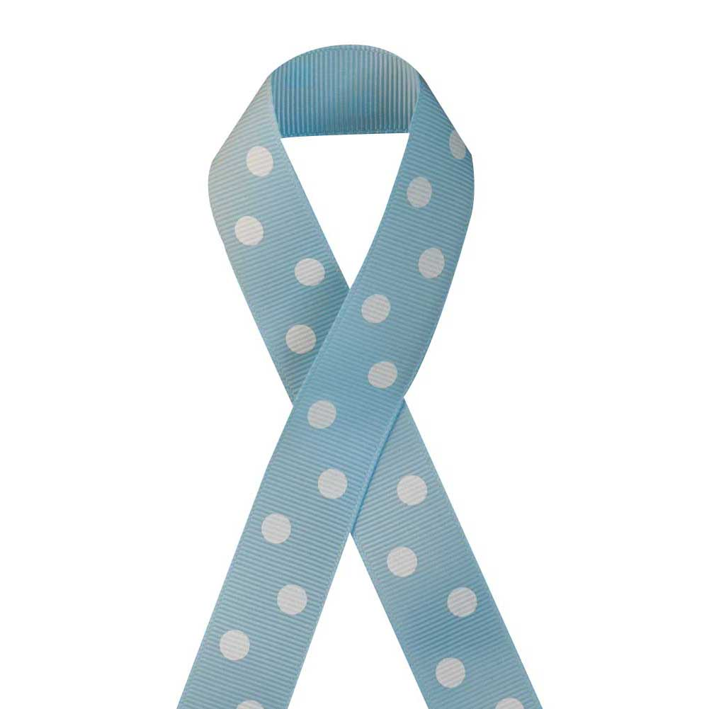 "7/8"" Printed Grosgrain Ribbon, White Polka Dot on Blue Topaz,100 yard"