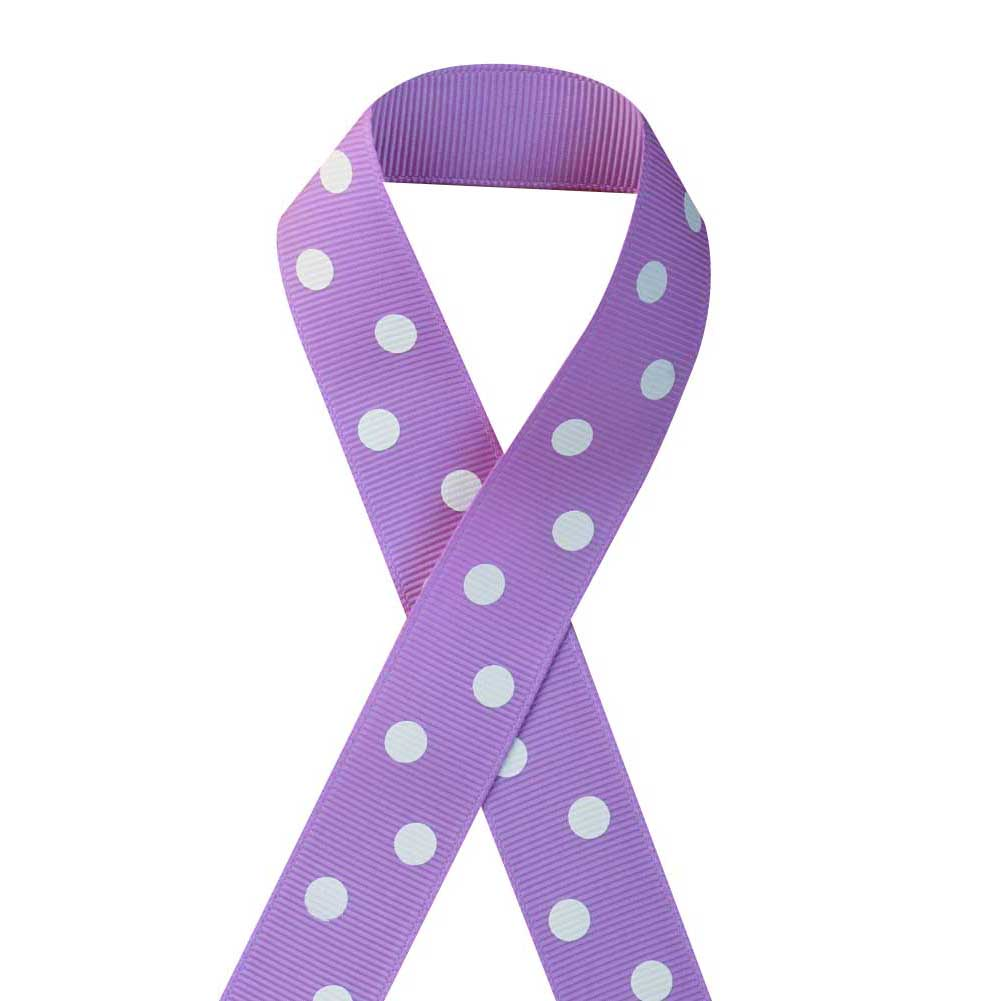 "7/8"" Printed Grosgrain Ribbon, White Polka Dot on Hyacinth,100 yard"