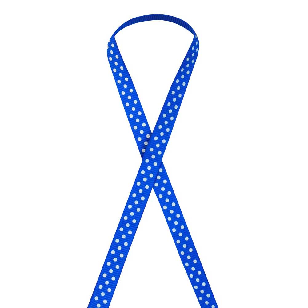 "3/8"" Printed Grosgrain Ribbon, White Swiss Dot on Electric Blue,100 yard"