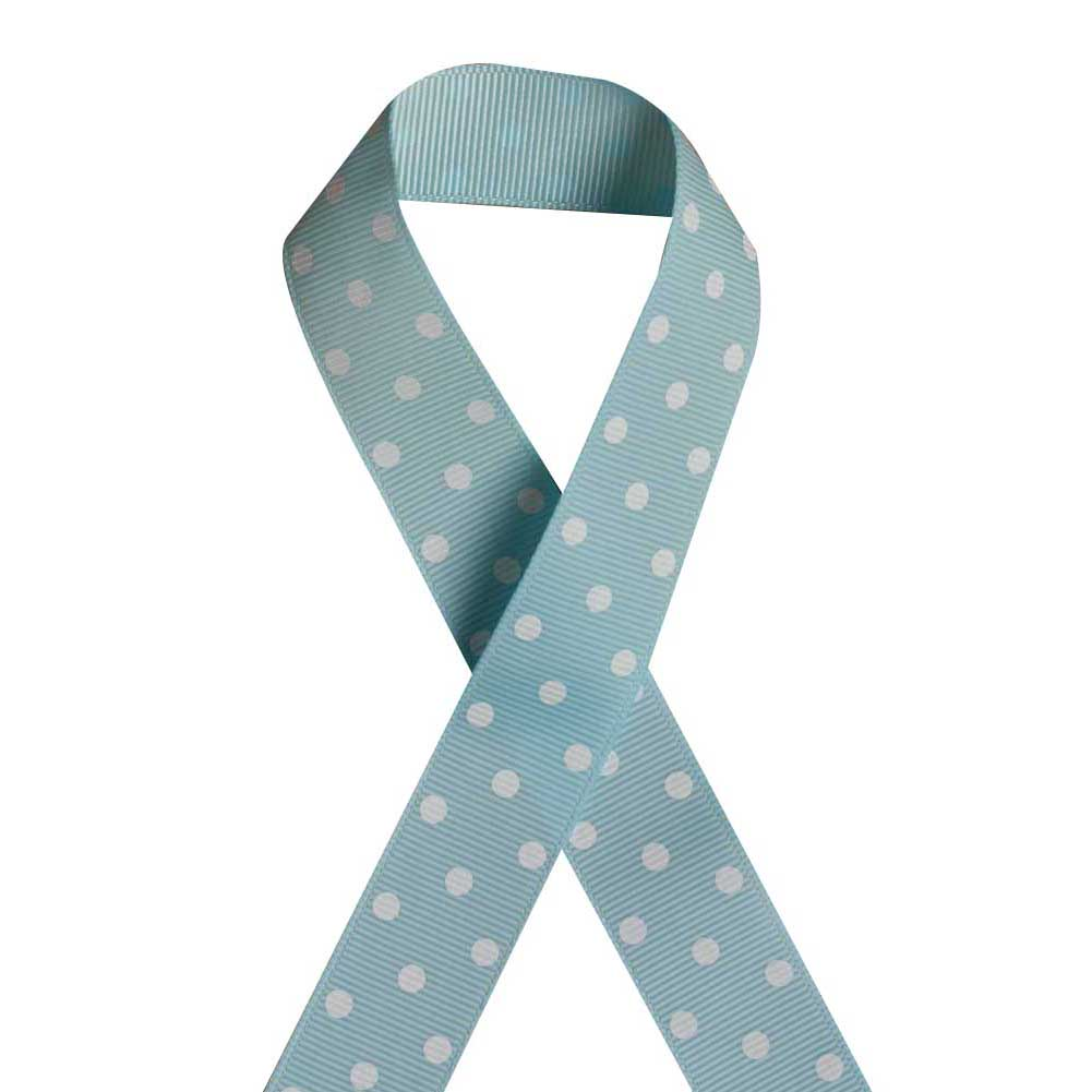"7/8"" Printed Grosgrain Ribbon, White Dot on Lt Blue,100 yard"