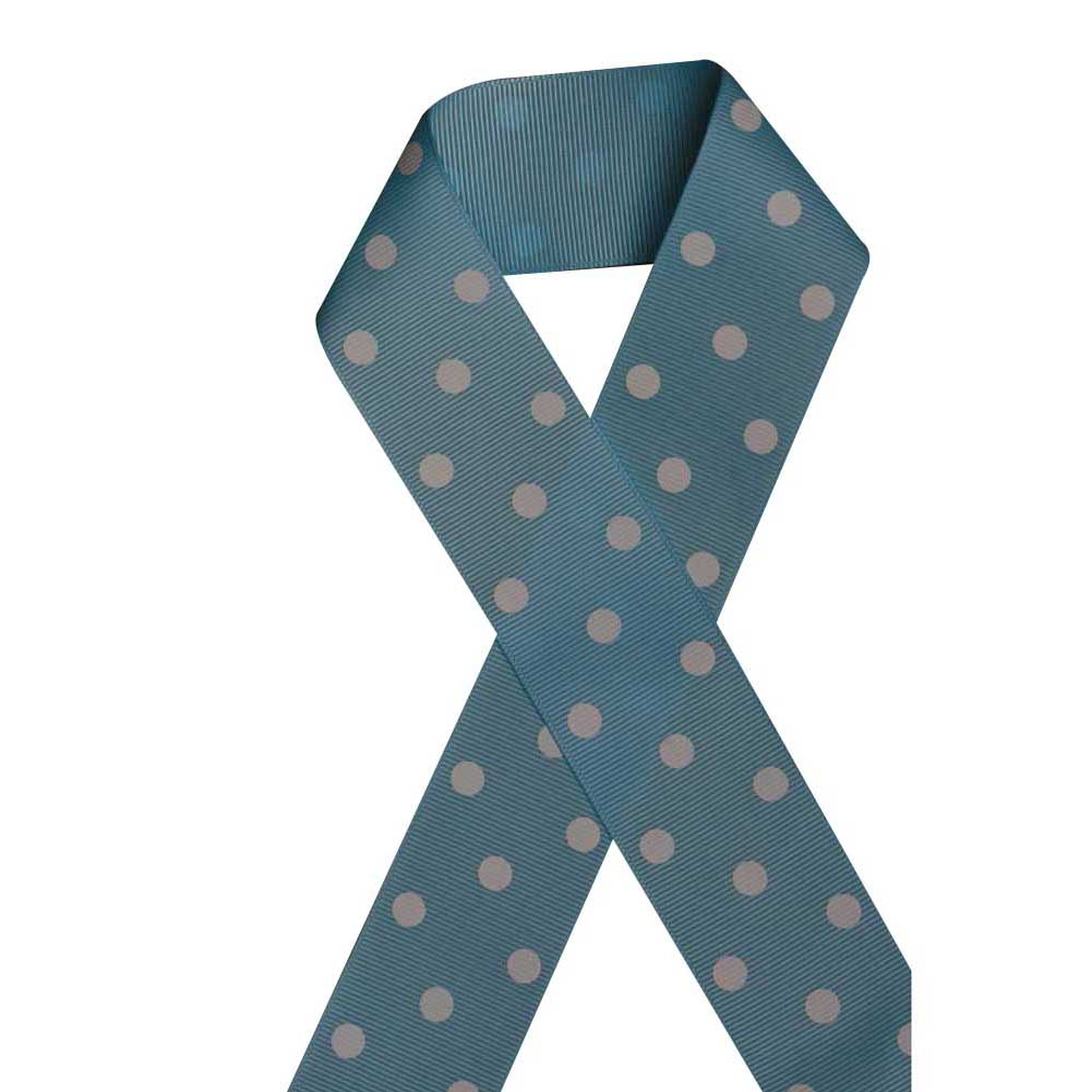 "1 1/2"" Printed Grosgrain Ribbon, White Polka Dot on Blue Topaz,100 yard"