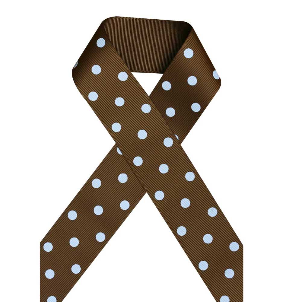 "1 1/2"" Printed Grosgrain Ribbon, White Polka Dot on Turftan,5 yard"