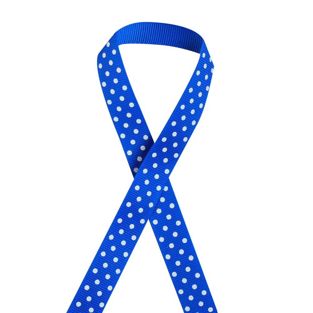 "5/8"" Printed Grosgrain Ribbon, White Polka Dot on Electric Blue,100 yard"