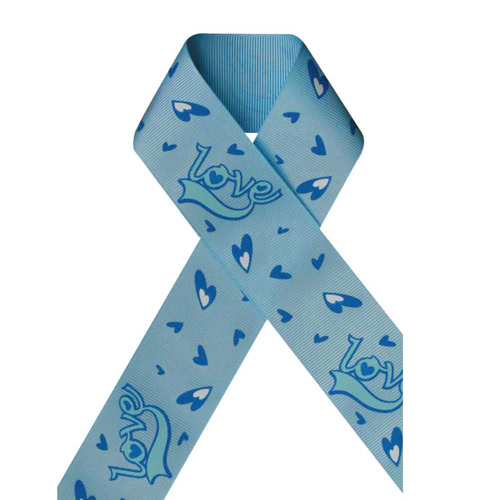 "1 1/2"" Grosgrain Ribbon,For Valentine's day,LOVE Printed on Blue Topaz,100 yard"