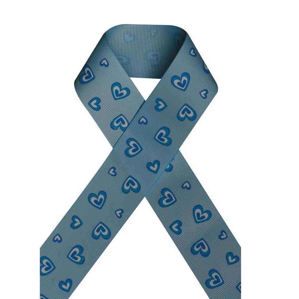 "1 1/2"" Grosgrain Ribbon,For Valentine's day,Heart Printed on Blue Topaz,100 yard"
