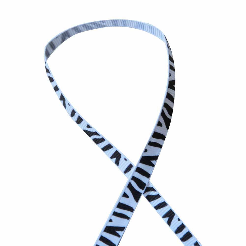 "3/8"" Printed Grosgrain Ribbon, Black and White Zebra,100 yard"