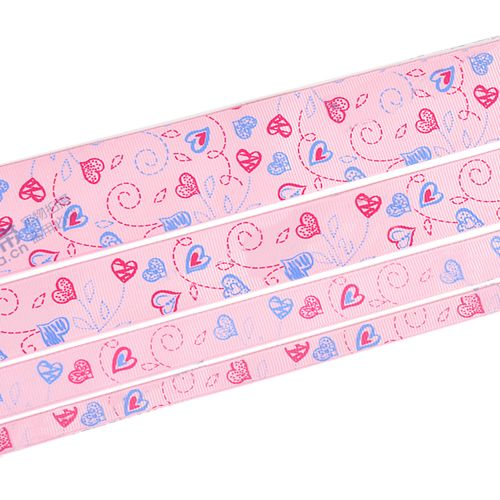 "1.5"" Printed Grosgrain Ribbon, Sweet Heart on the MistyRose,100 yards/roll"