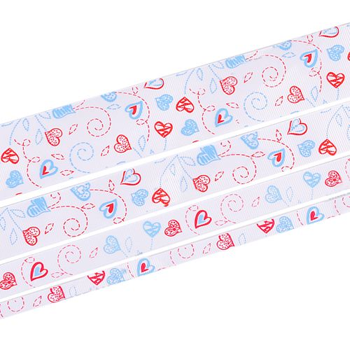 "1.5"" Printed Grosgrain Ribbon, Sweet Heart on the White,100 yards/roll"