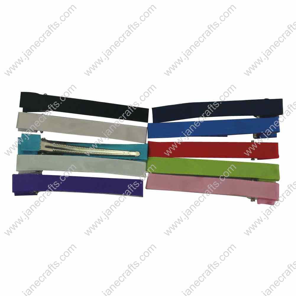 70mm(3 inch) Partially`Lined Grosgrain Ribbon Covered Donble Prong with Teeth Alligator 50pcs