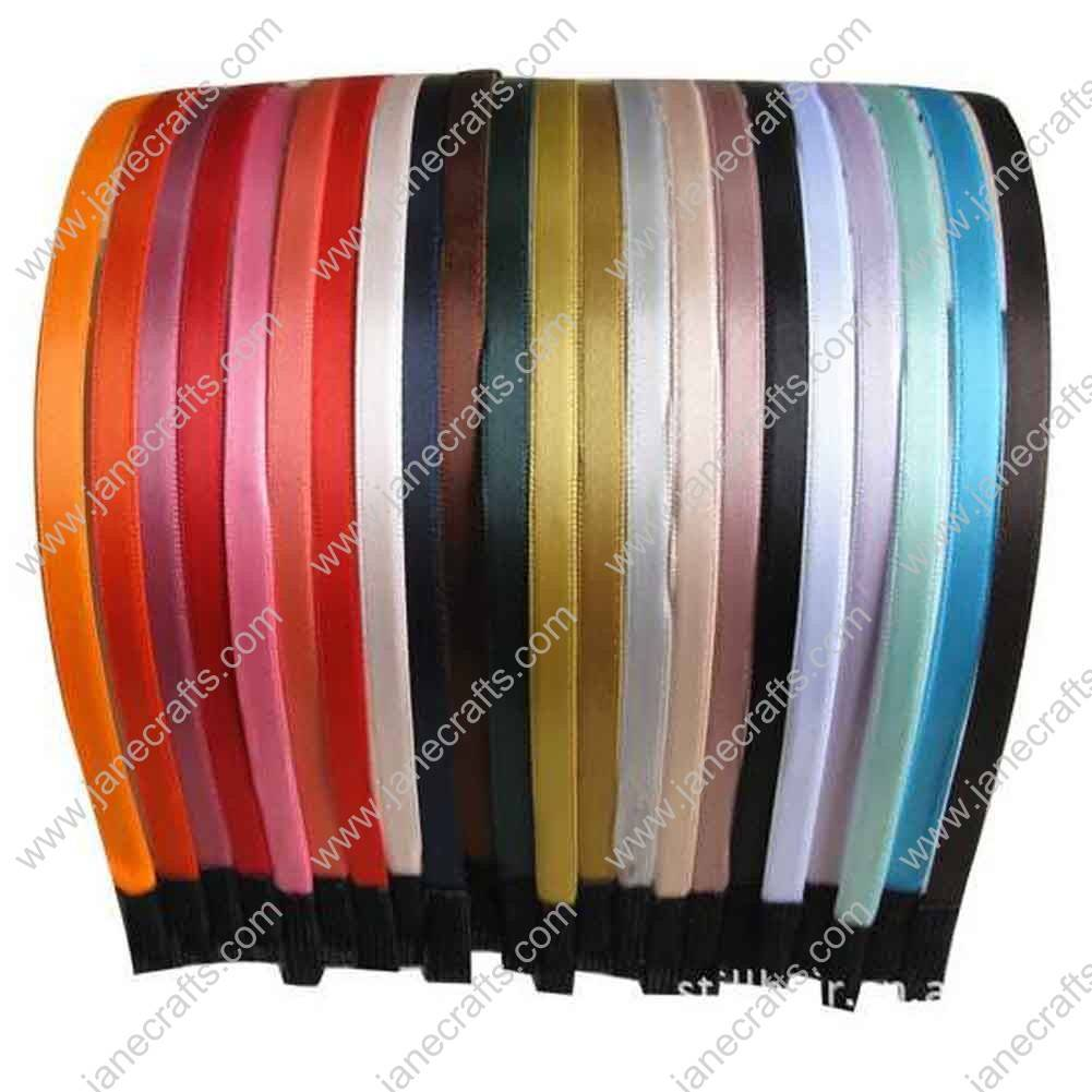 "12pc 1/4"" Solid Satin Ribbon Covered 5mm Metal Headband Assorted Lot"