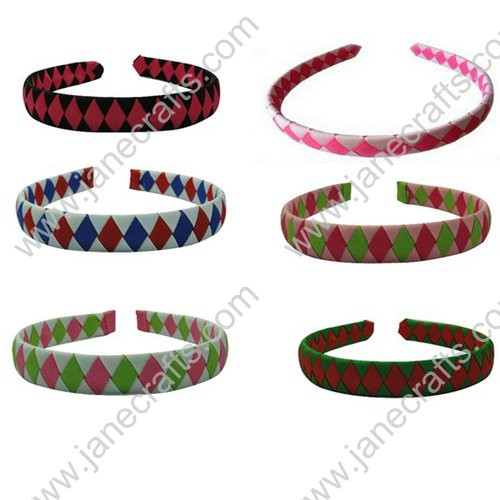 12-Assorted Ribbon Covered Woven Dimand Plastic Headband 20mm Wide