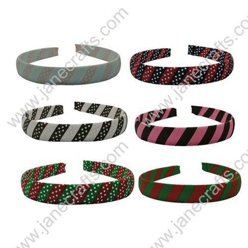 12-Mixed Colors Ribbon Covered Woven Stripes Dots Plastic Headband 20mm Wide