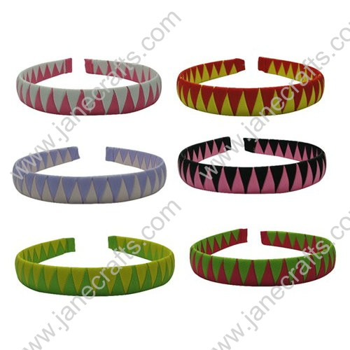 12pcs Two Tone Colors Ribbon Wrapped Plastic Hair Band 20mm Wide