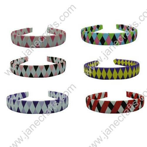 12pcs 25mm Wide Plastic Headbands Wrapped with Grosgrain Ribbons Woven Style