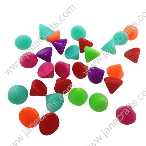 50PCS 10mm Colorful Plastic Cone Bullet Chain Spike Studs Rivet Punk Bag Belt Leathercraft DIY Sewing
