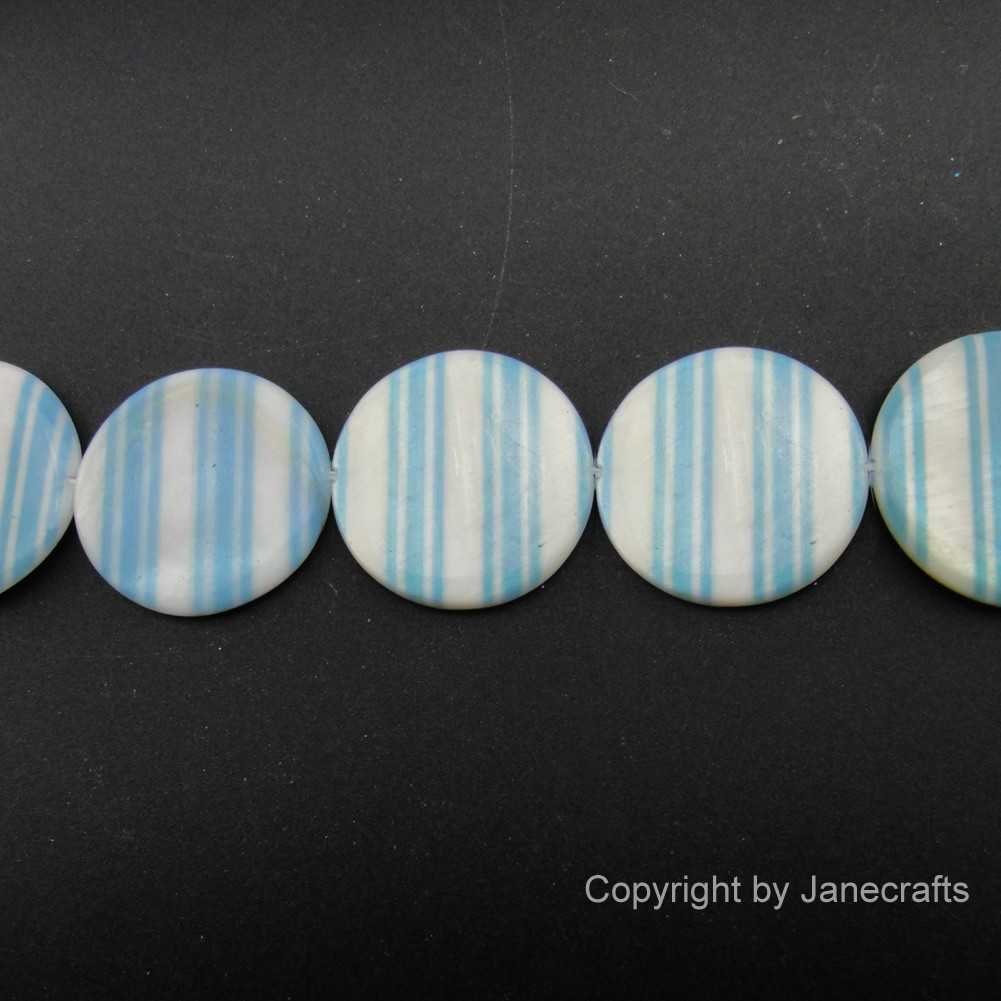 2 Strands 25mm Lt.Blue Stripe Round Shell Loose Beads