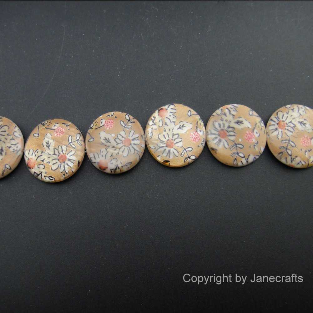 2 Strands 20mm Daisy Printed Round Shell Loose Beads