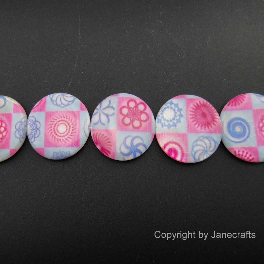 2 Strands 25mm Pink Printed Round Shell Loose Beads