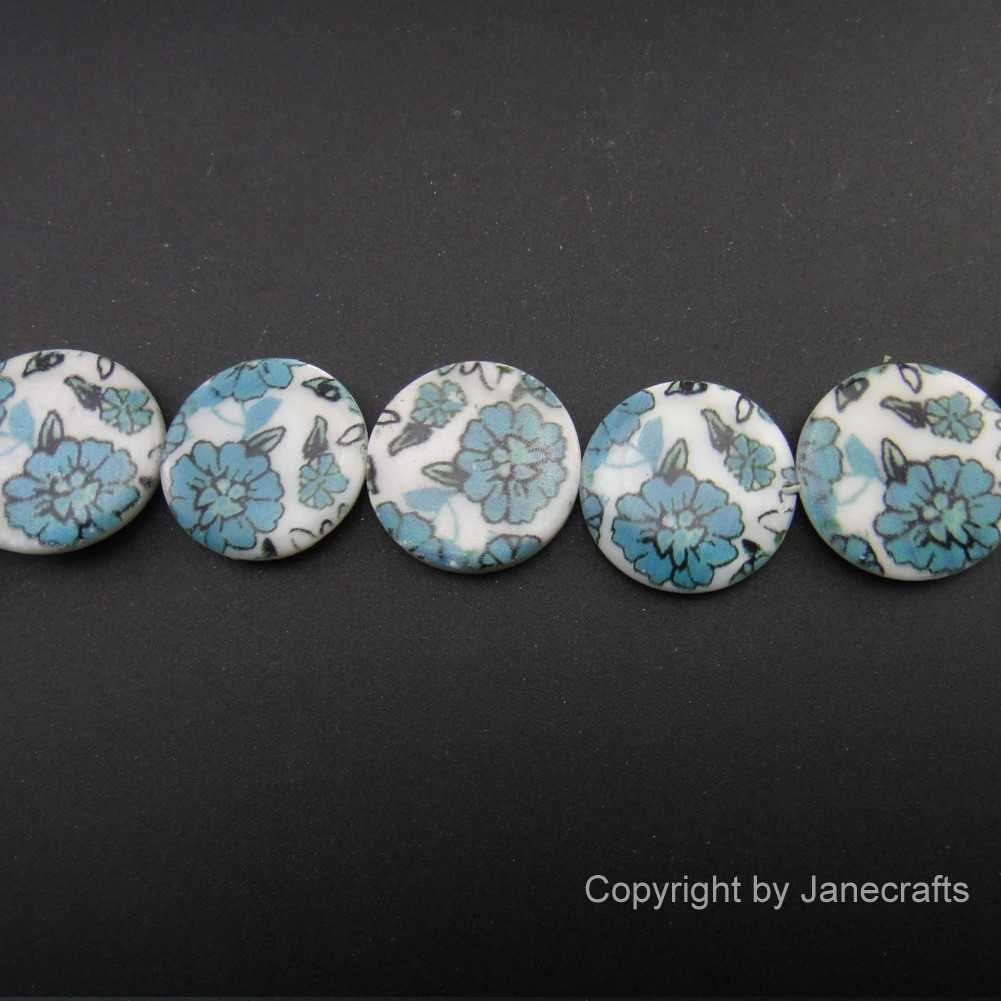 2 Strands 20mm Blue Flower Round Shell Loose Beads
