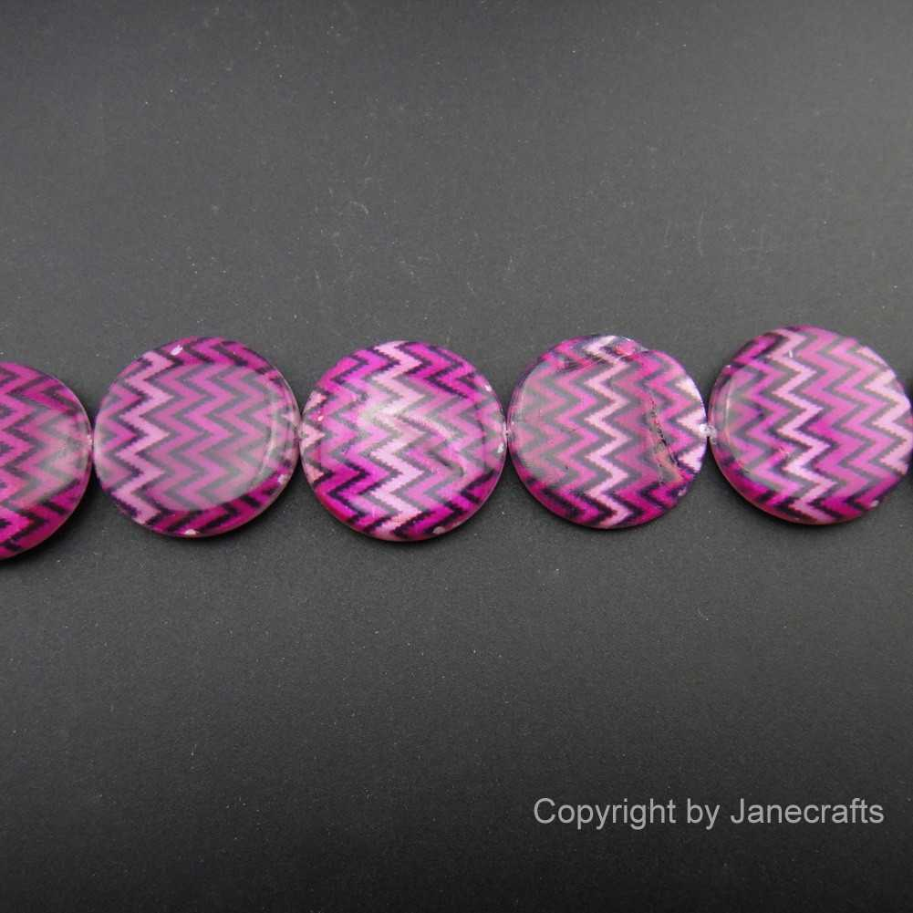 2 Strands 25mm Purple Chevron Round Shell Loose Beads