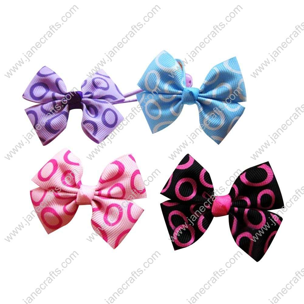 "Cute 2"" Printed Ribbon Bow with Hair Pony Holder 8pcs"