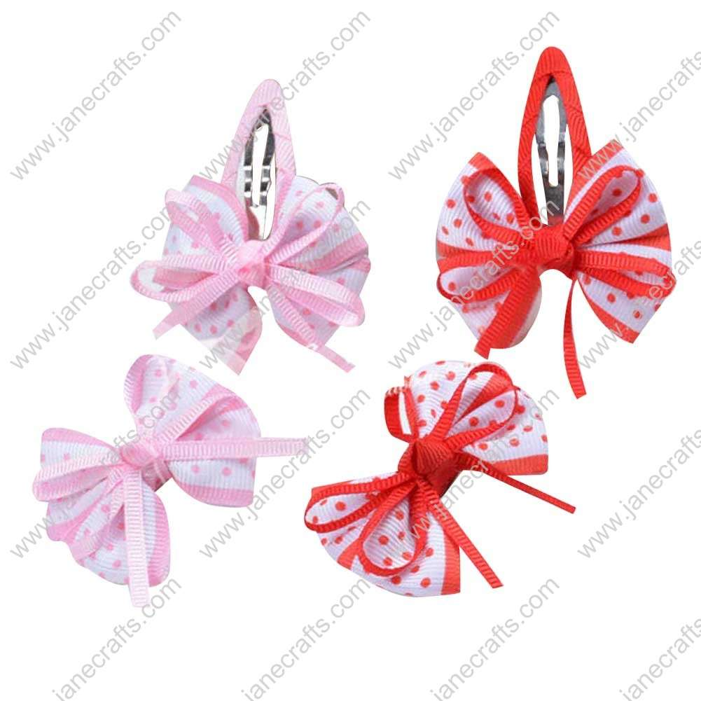 "Cute 2"" Dot Red/Pink Pinwheel Bow with Ribbon Covered Alligator/Snap 8pcs"