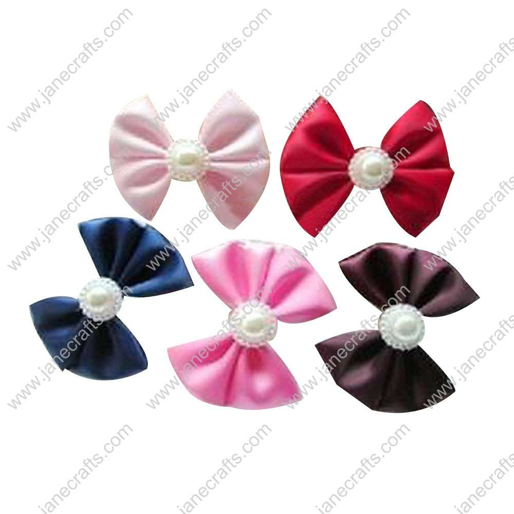 "2"" Solid Satin Ribbon Bow with Pearl in Center with Ribbon Covered Clip 10pcs"