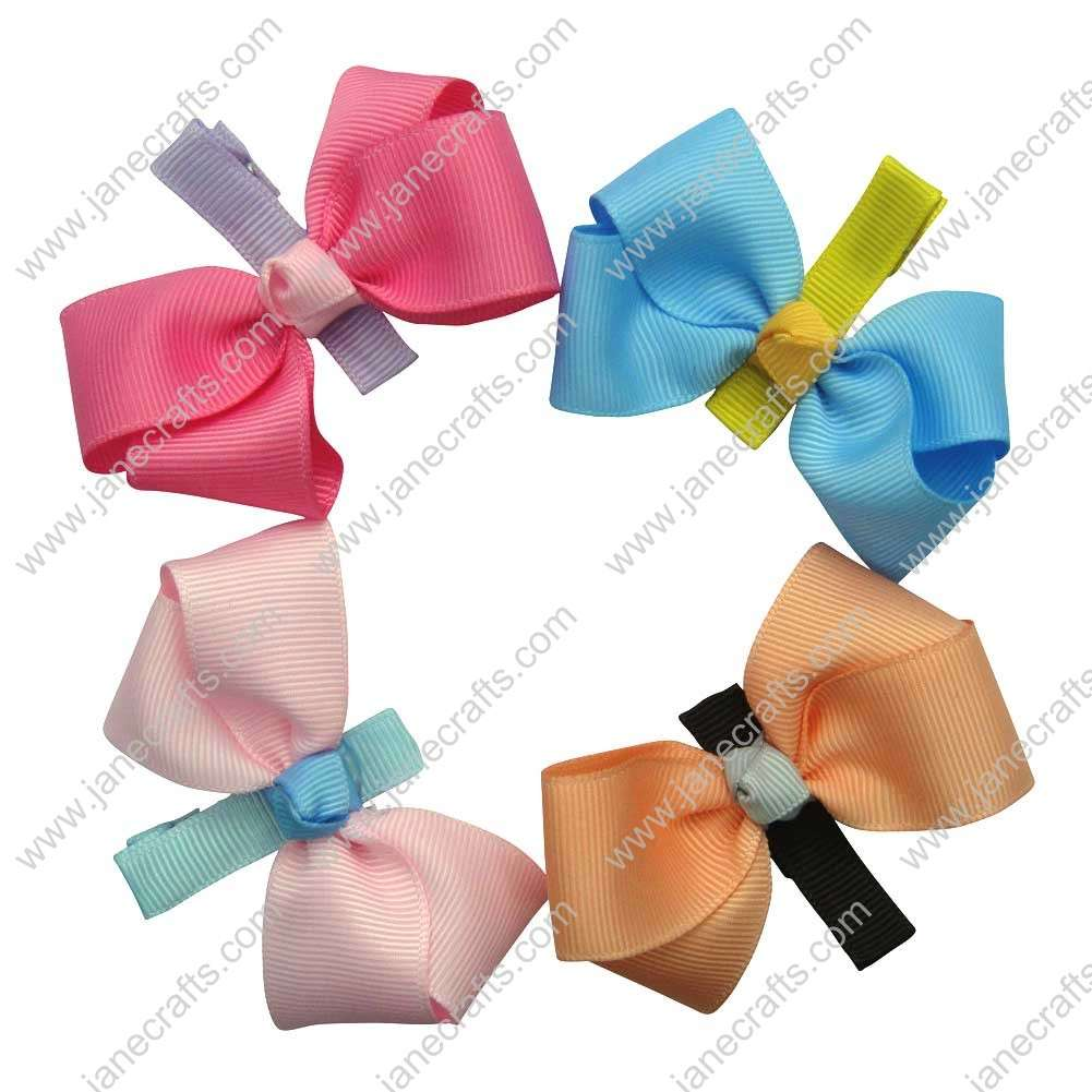 "Cute 2"" Solid Ribbon Bow with Covered Girl Hair Clip 8pcs"