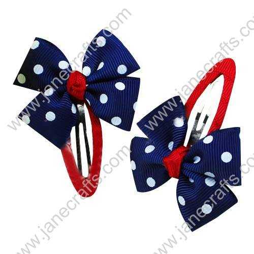 "Cute Navy 2"" Hair Bow Baby Snap Clip Wholesale 10pcs"