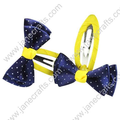 "Cute Navy with White Swiss Dot 2"" Hair Bow Baby Snap Clip Wholesale 10pcs"