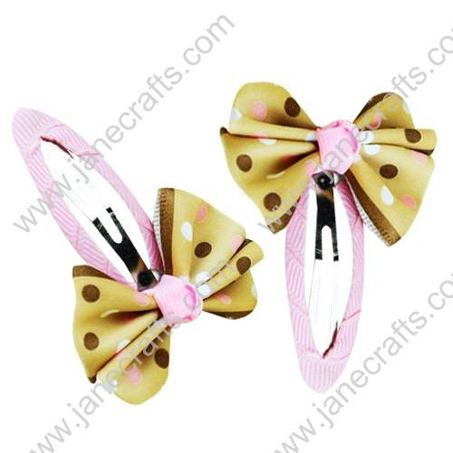 "Cute Gold 2"" Hair Bow Baby Snap Clip Wholesale 10pcs"
