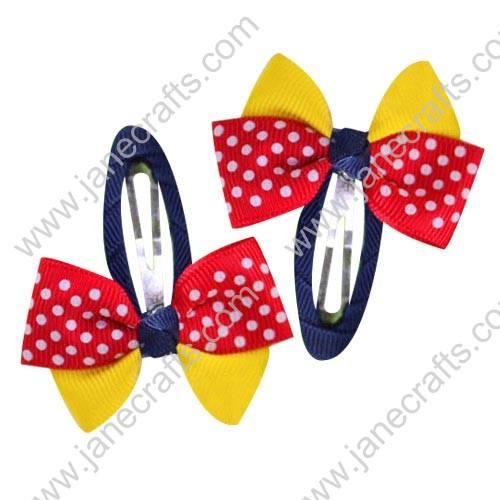 "Cute Yellow/Red 2"" Hair Bow Baby Snap Clip Wholesale 10pcs"